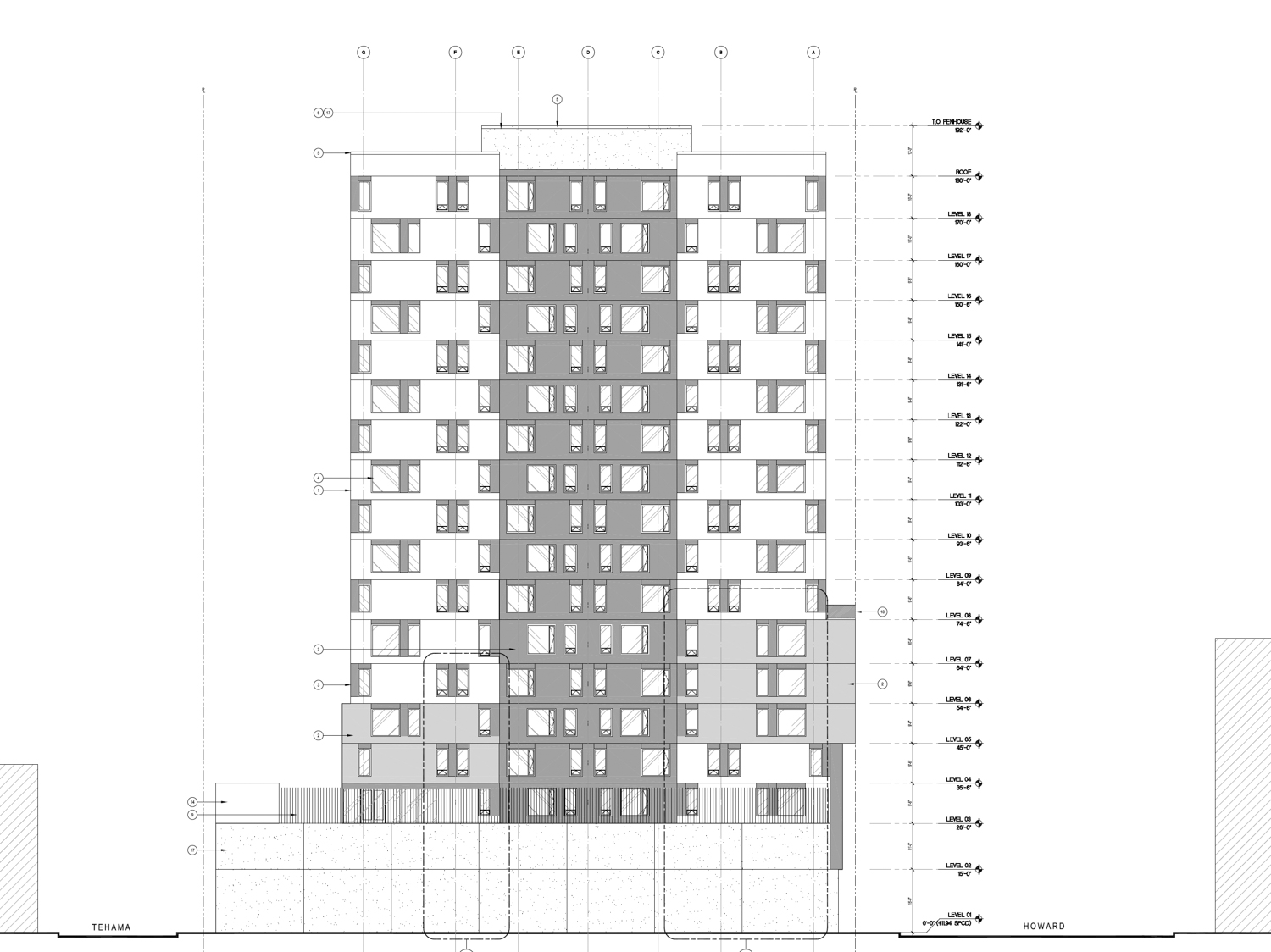 921 Howard Street elevation, rendering courtesy Perry Architects