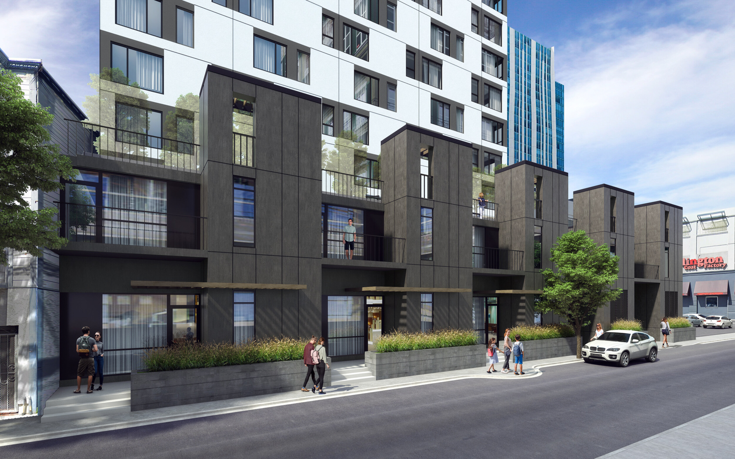 921 Howard Street townhouses, rendering courtesy Perry Architects