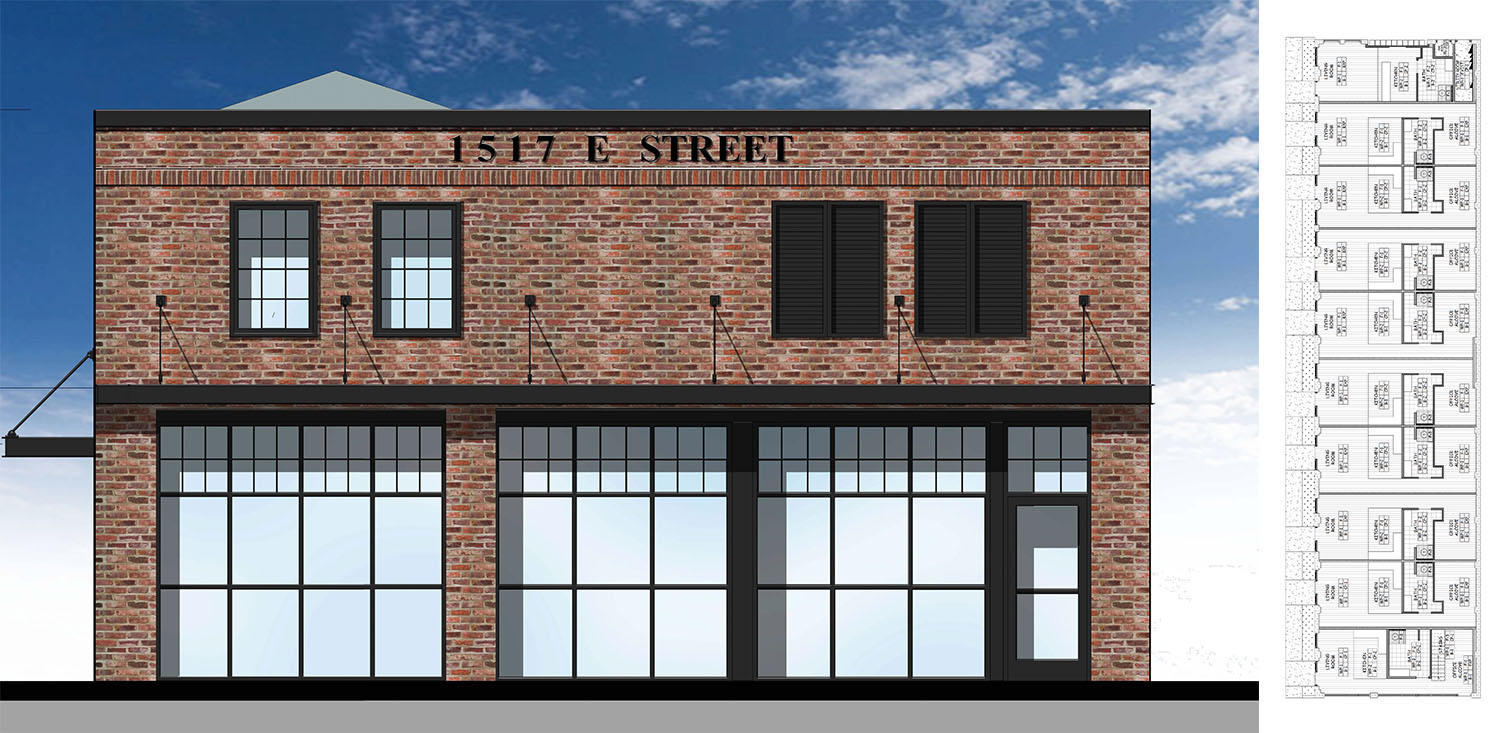 1517 East Street, rendering and elevation by MHA Architects, compilation by SF YIMBY