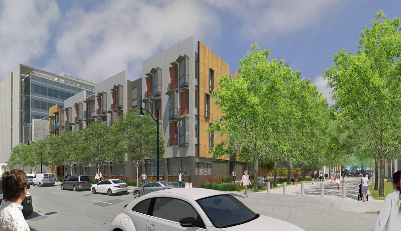 Mission Bay Block 9 / 410 China Basin Street ground level view, rendering courtesy TS Studio