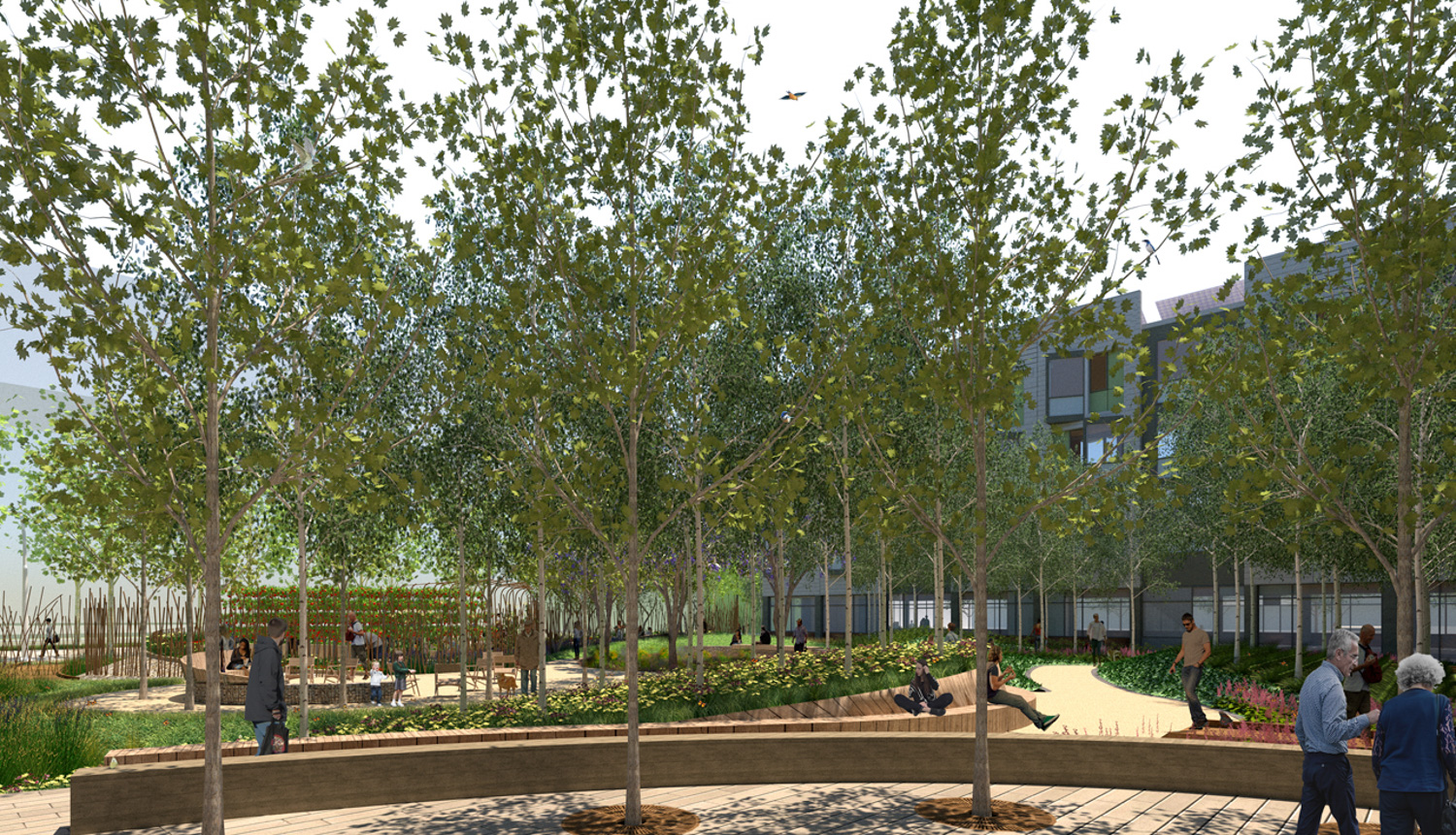 Mission Bay Block 9 / 410 China Basin Street heavily landscaped courtyard, rendering courtesy TS Studio