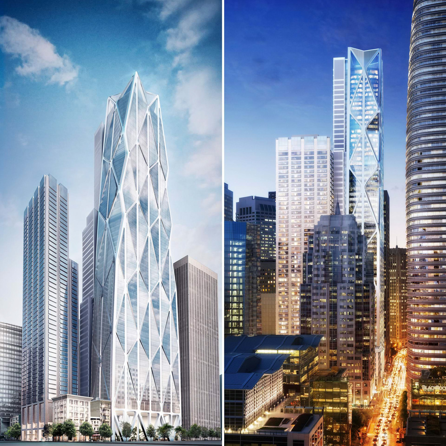Oceanwide Center full tower, design by Foster + Partners with Heller Manus Architects