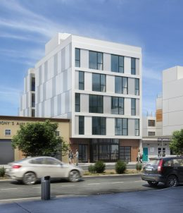 Older rendering of 6518 San Pablo Avenue reflecting the scale of the 2019 permit, development by Atomic Development Company