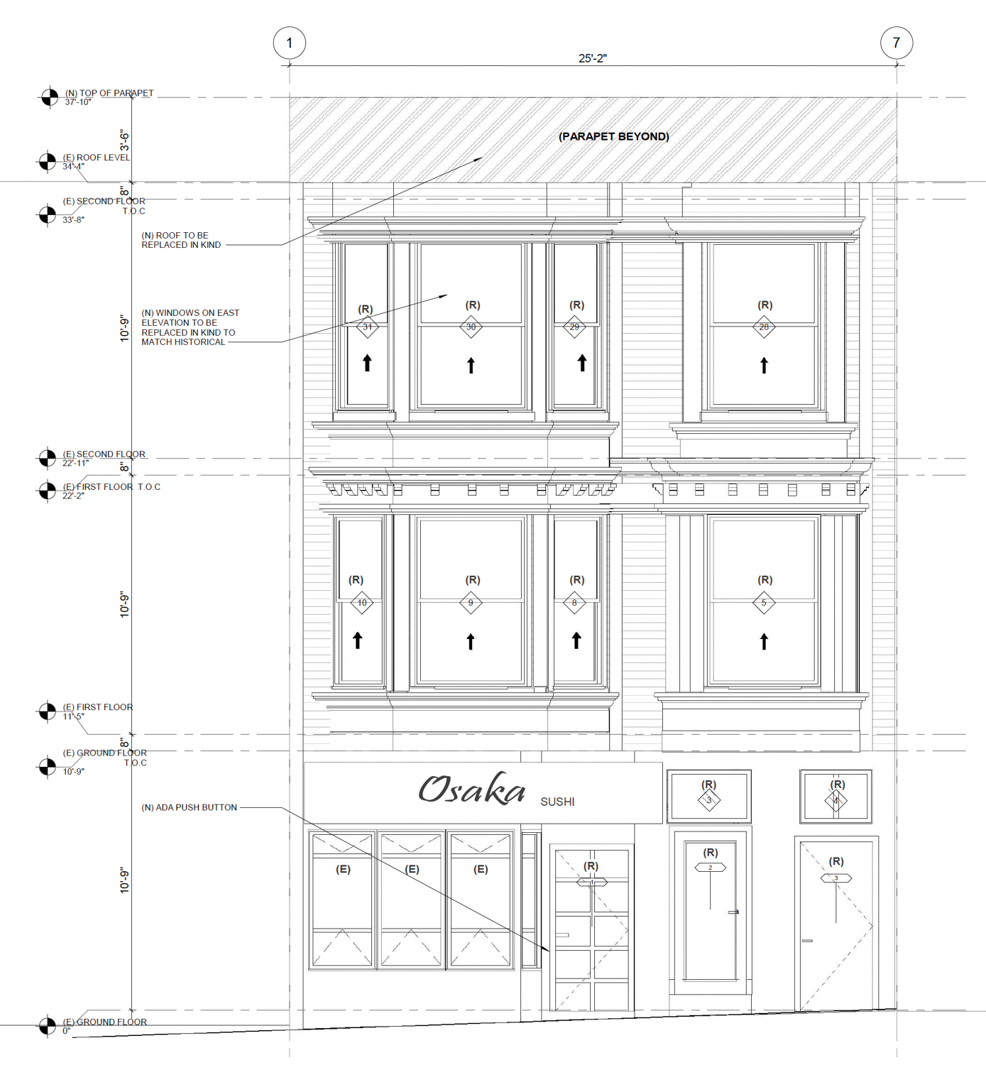 Proposed facade at 458 Castro Street, drawing by Design Draw Build Inc