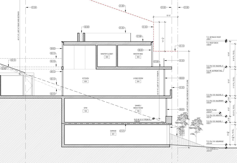 Proposed longitudinal section of 35 Belgrave Avenue, drawing by John Maniscalco Architect
