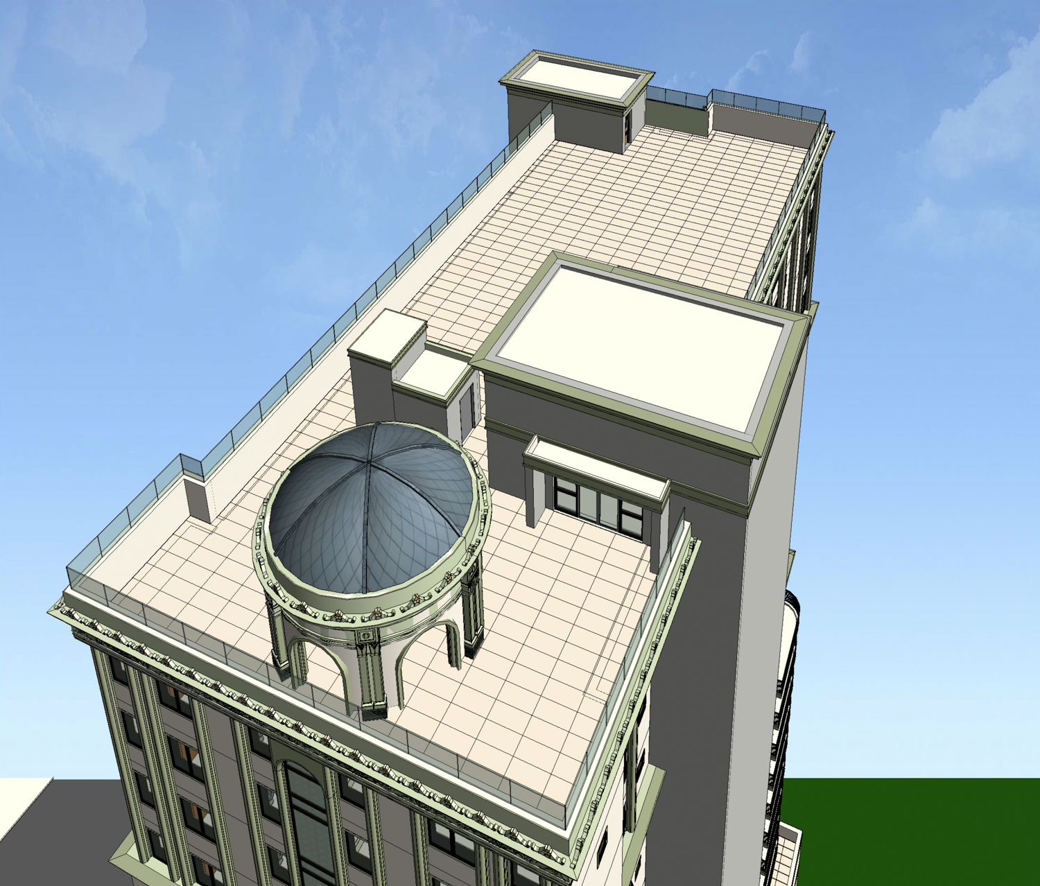 Rooftop terrace with domed gazebo ontop 19 North 2nd Street, image courtesy Anderson Architects