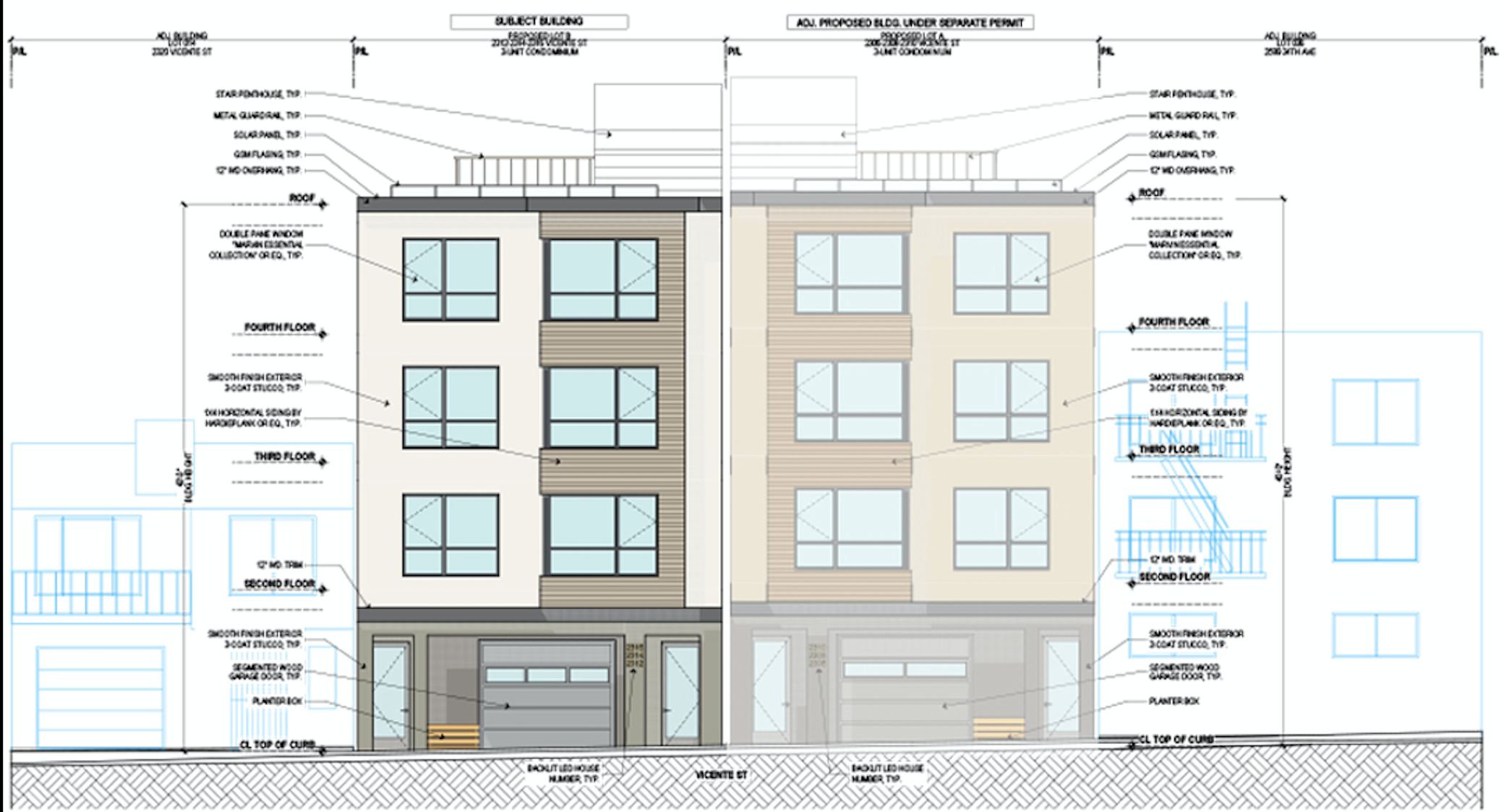 Proposed Elevation 2312 Vicente Street via Schaubly Architects