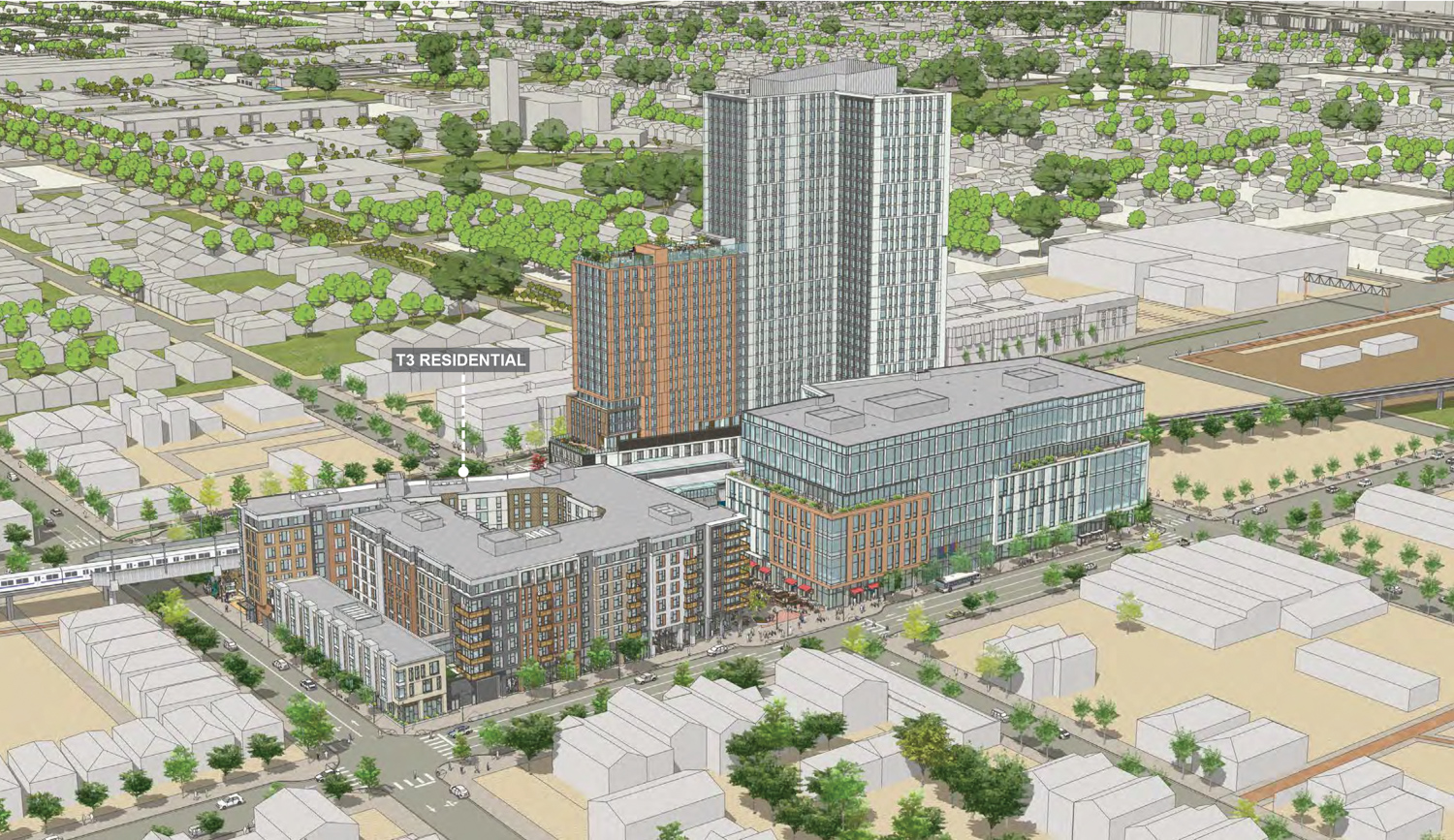 Southwest overview of 1451 7th Street Mandela Station with T3, the affordable housing structrue, labeled, rendering by JRDV Architects