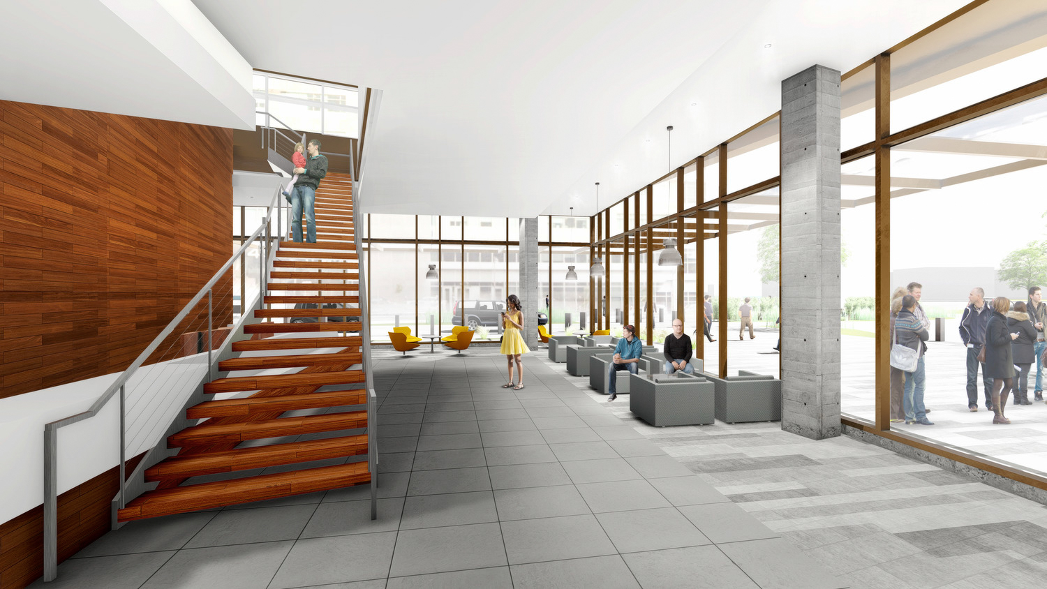 Wayne and Gladys Valley Center for Vision at 490 Illinois Street interior lobby, image courtesy Webcor