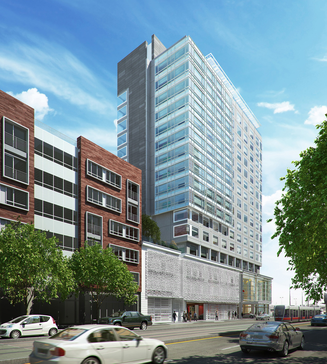 100 Channel Street hotel day view at One Mission Bay, rendering courtesy Hospitality Online
