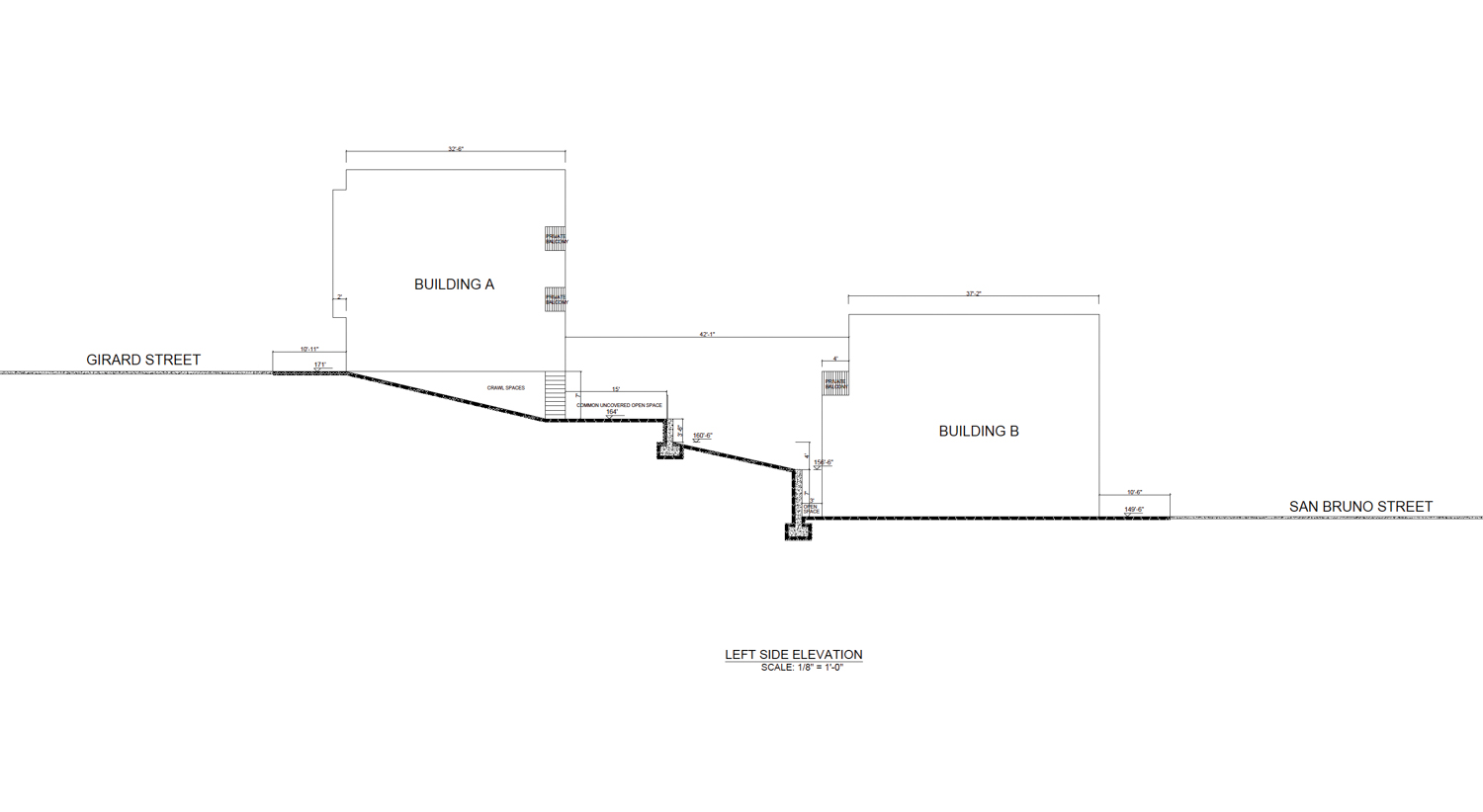 1149 Girard Street side elevation of the two structures, image courtesy Thomas Lei