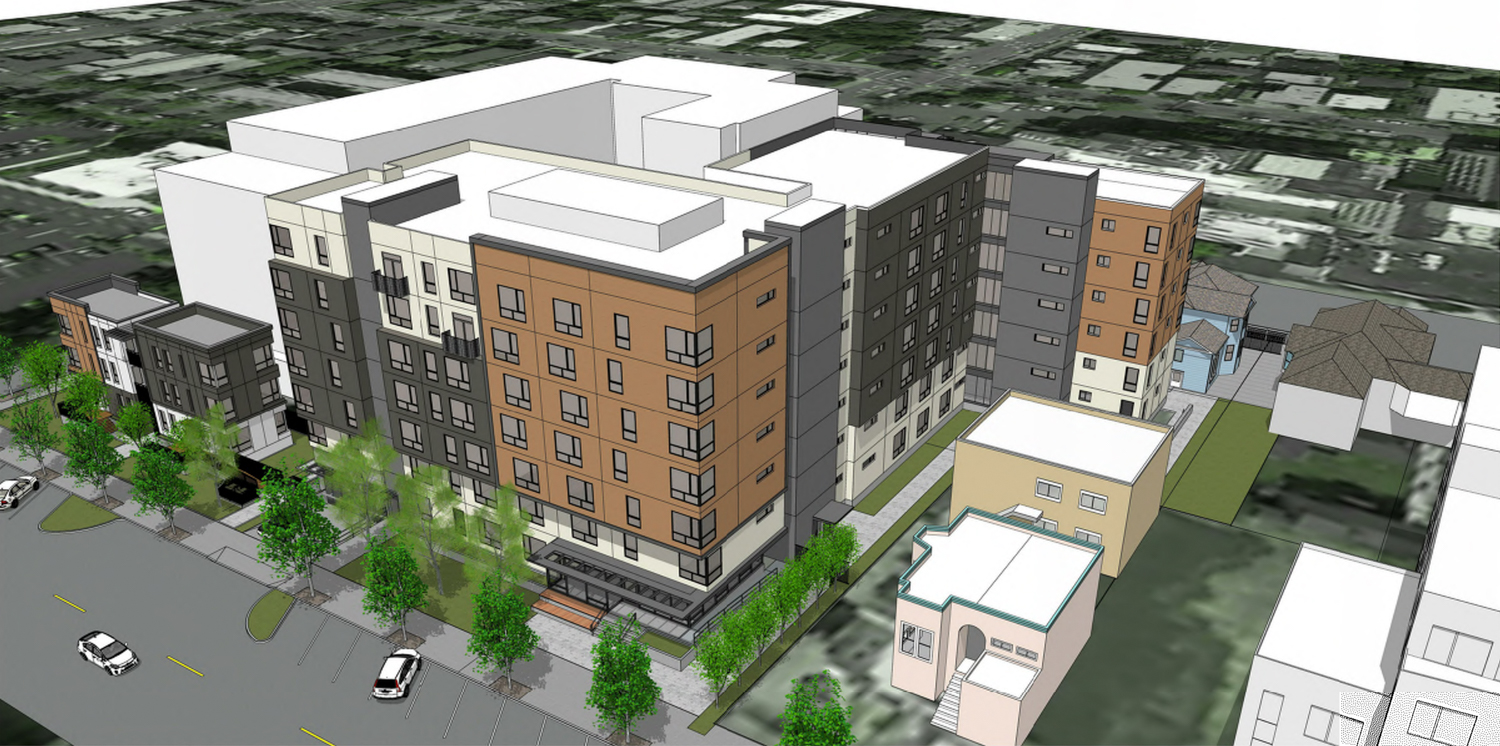 2015 Blake Street aerial view from southeast showing the three-story building to the far left, and the retaining buildings in the bottom right corner, rendering courtesy Lowney Architects