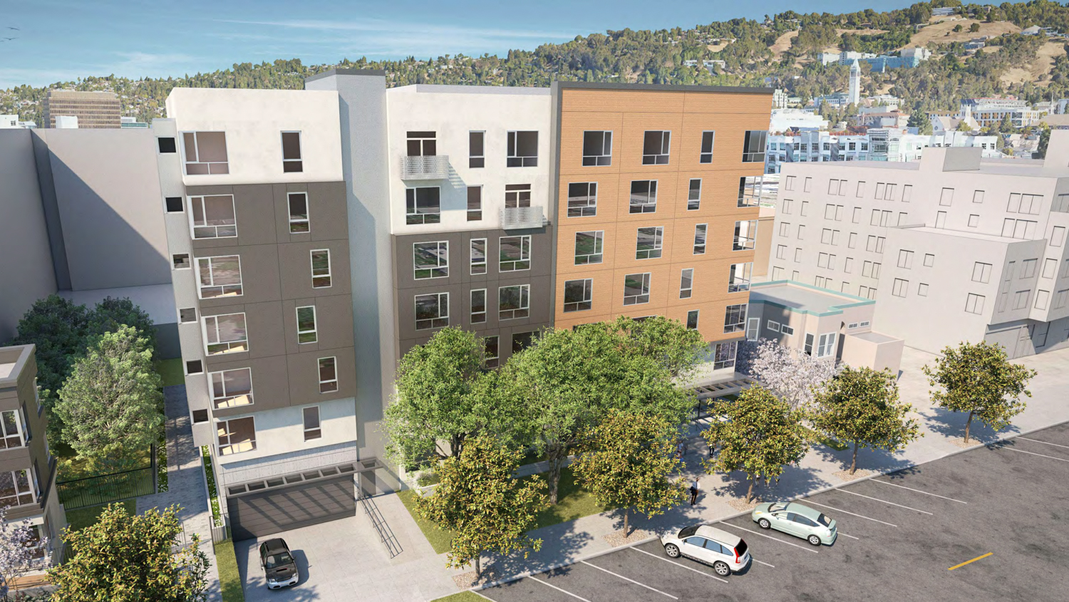 2015 Blake Street rear aerial perspective, rendering courtesy Lowney Architects