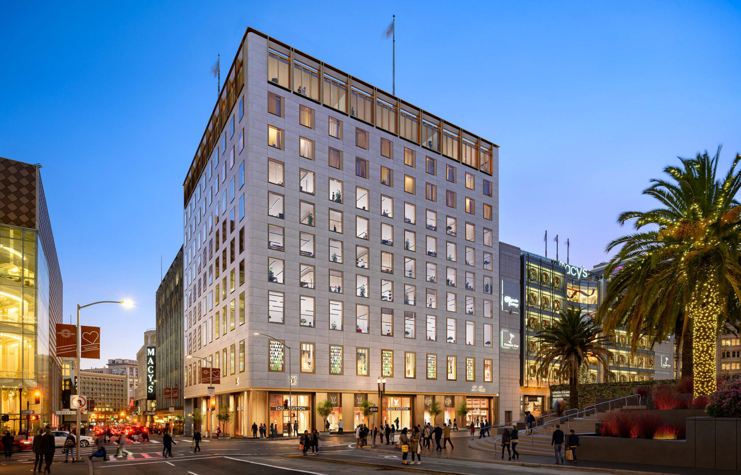 233 Geary Street at dusk, rendering via Handel Architects