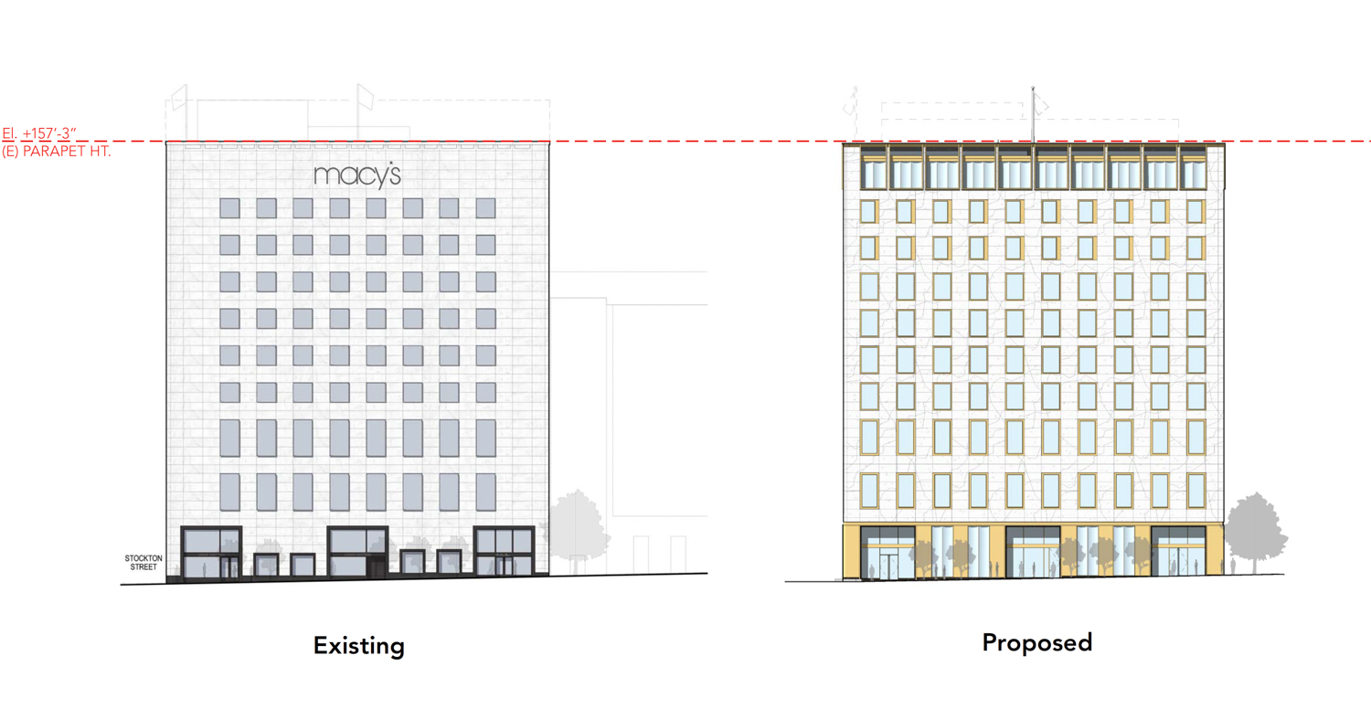233 Geary Street facade elevation, rendering via Handel Architects
