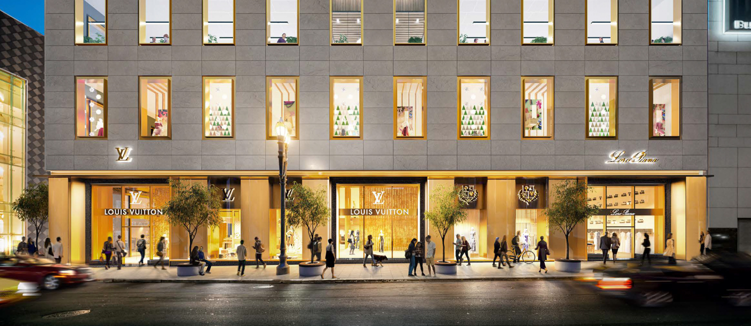 233 Geary Street streetscape viewed from Union Square, rendering via Handel Architects