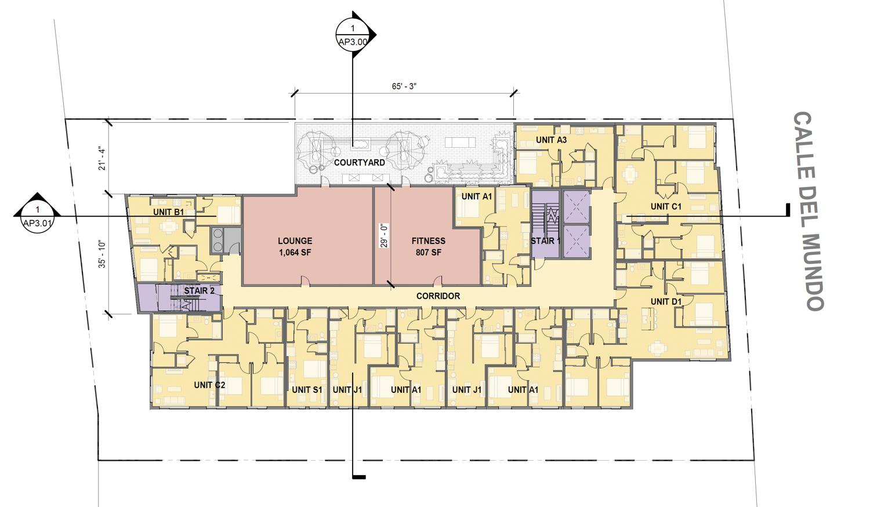 2354 Calle Del Mundo second level floorplan, by BDE Architecture