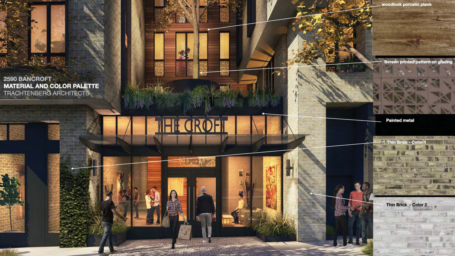 2590 Bancroft Way lobby with facade materials illustrated, rendering by Trachtenberg Architects