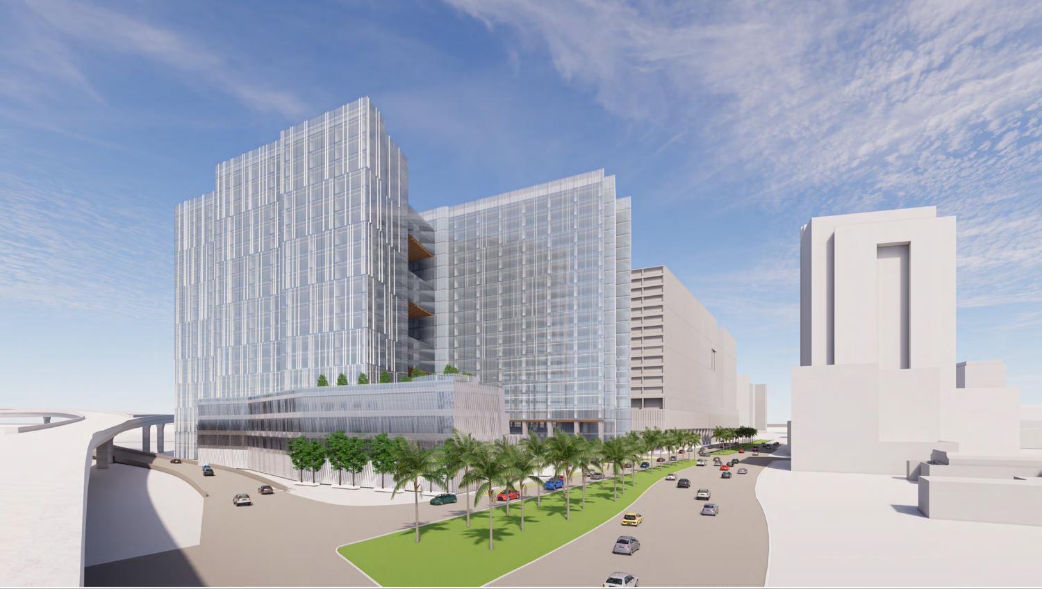 280 Woz Way viewed across Almadenb Boulevard, rendering by C2K Architecture