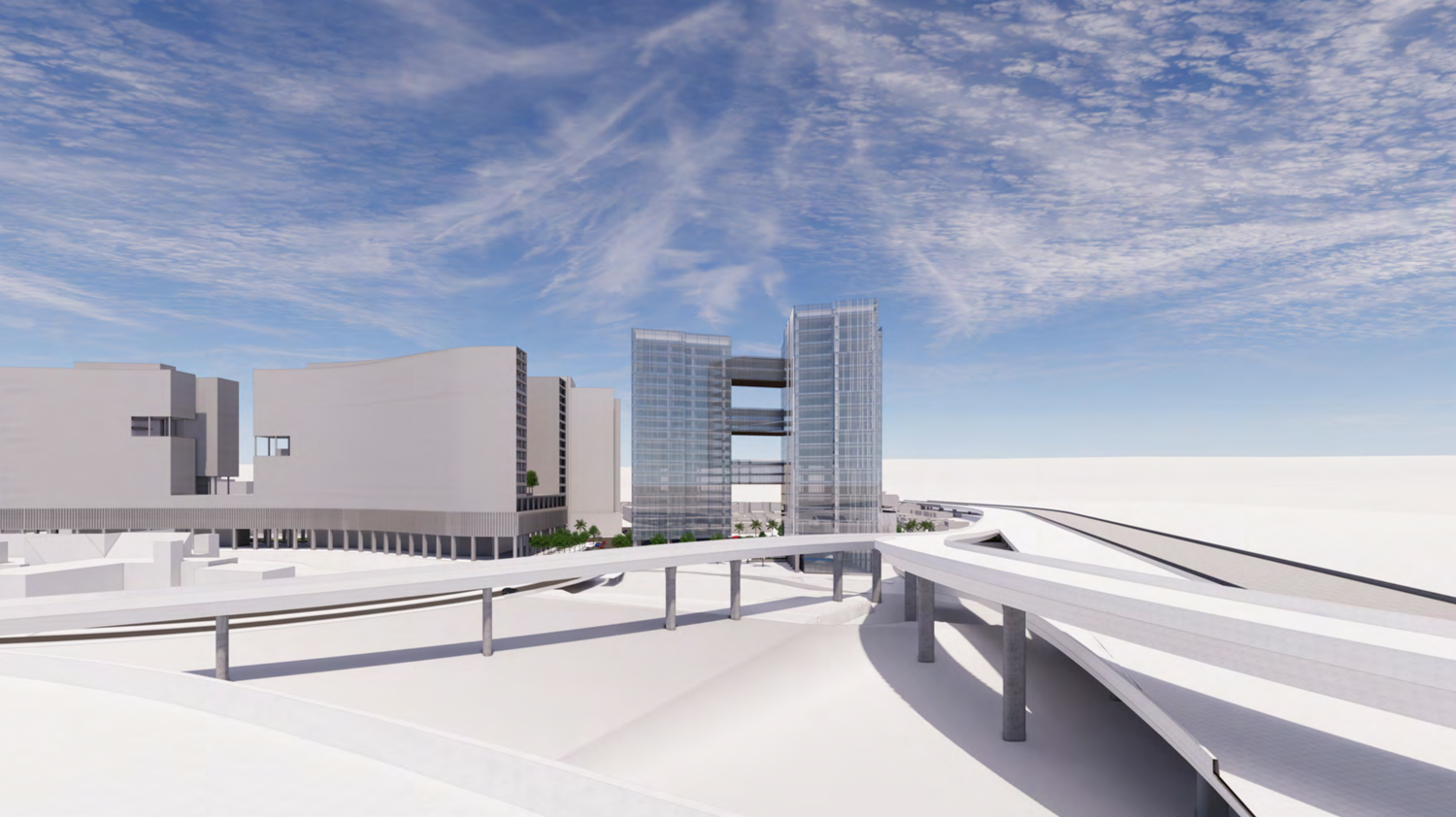 280 Woz Way with freeways massed, rendering by C2K Architecture