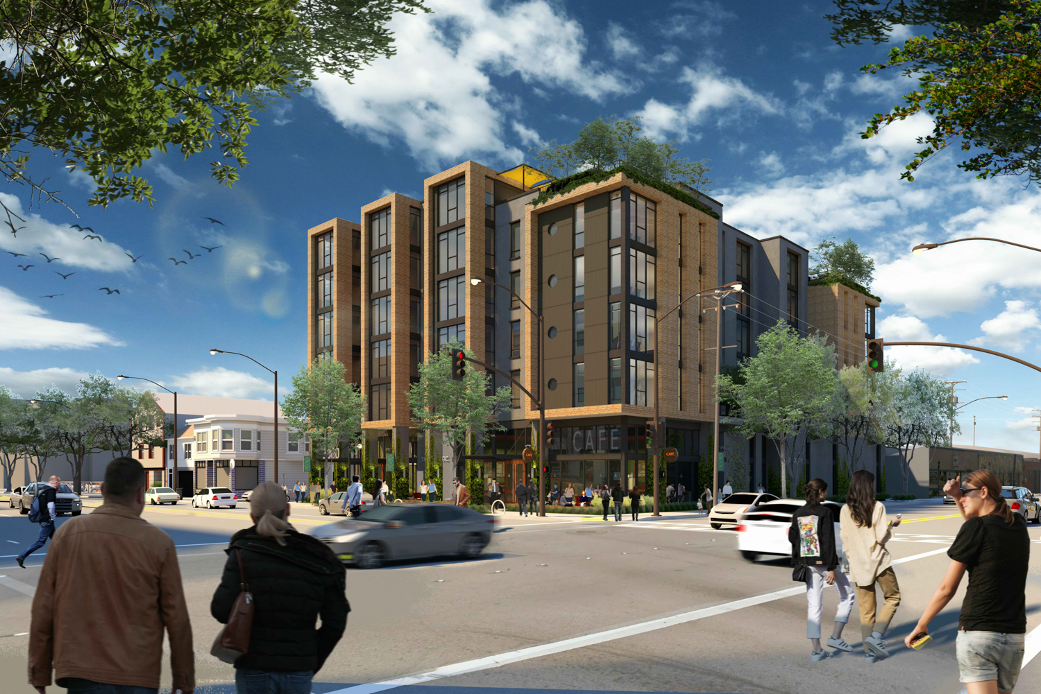 3000 San Pablo Avenue full building from street view across Ashby and San Pablo, rendering by Trachtenberg Architects