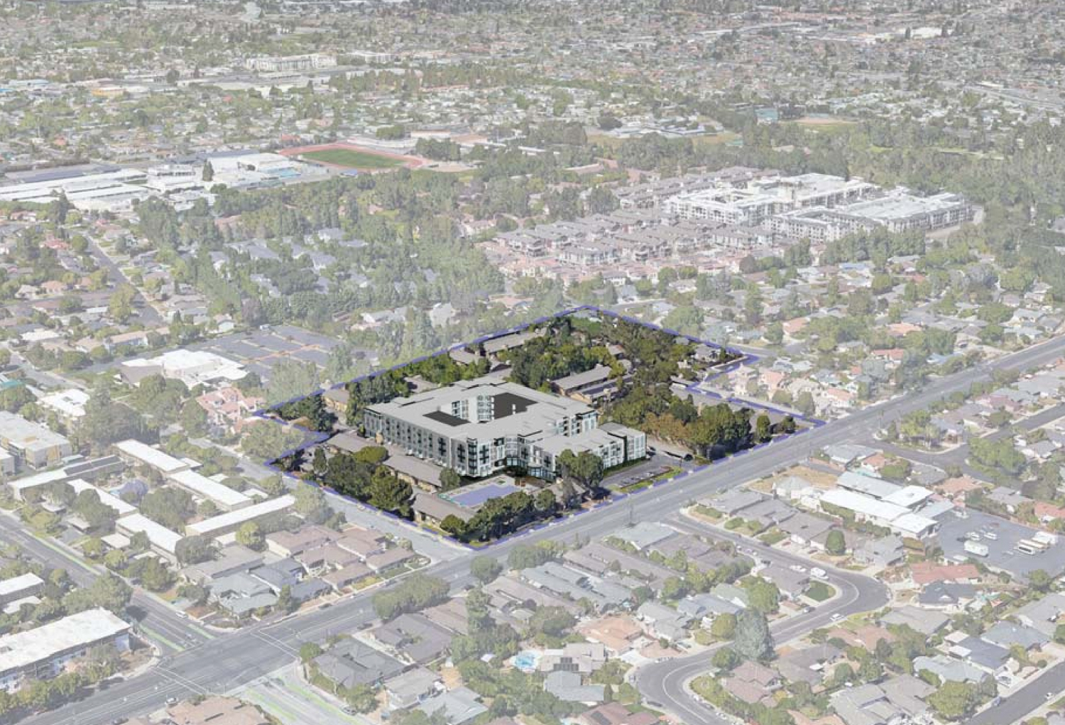 3131 Homestead Road proposal, birdseye view rendering by BDE Architecture