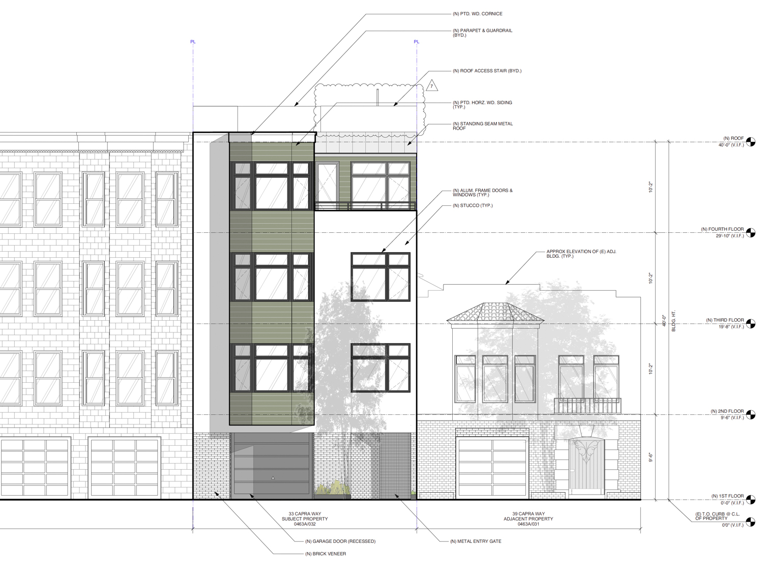 33-37 Capra Way facade elevation, drawing by John Lum Architecture