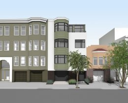 33-37 Capra Way front view, rendering by John Lum Architecture