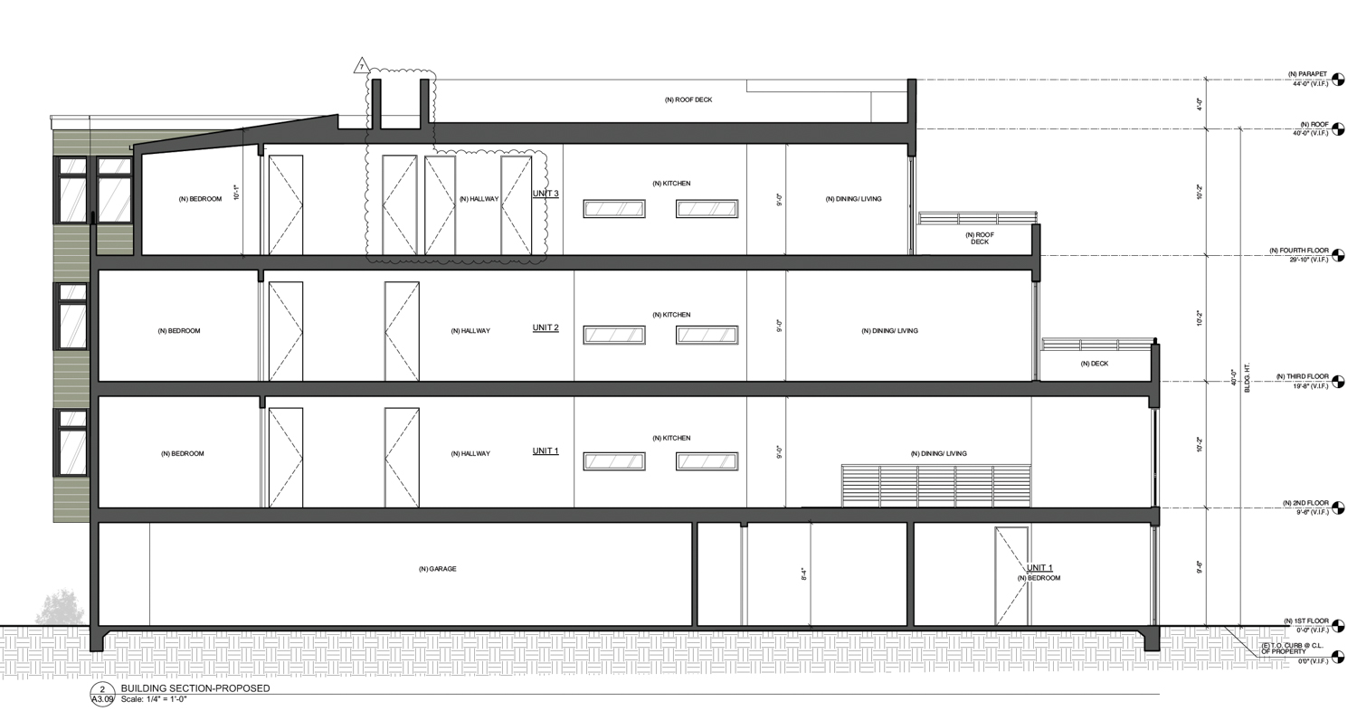 33-37 Capra Way vertical elevation, drawing by John Lum Architecture
