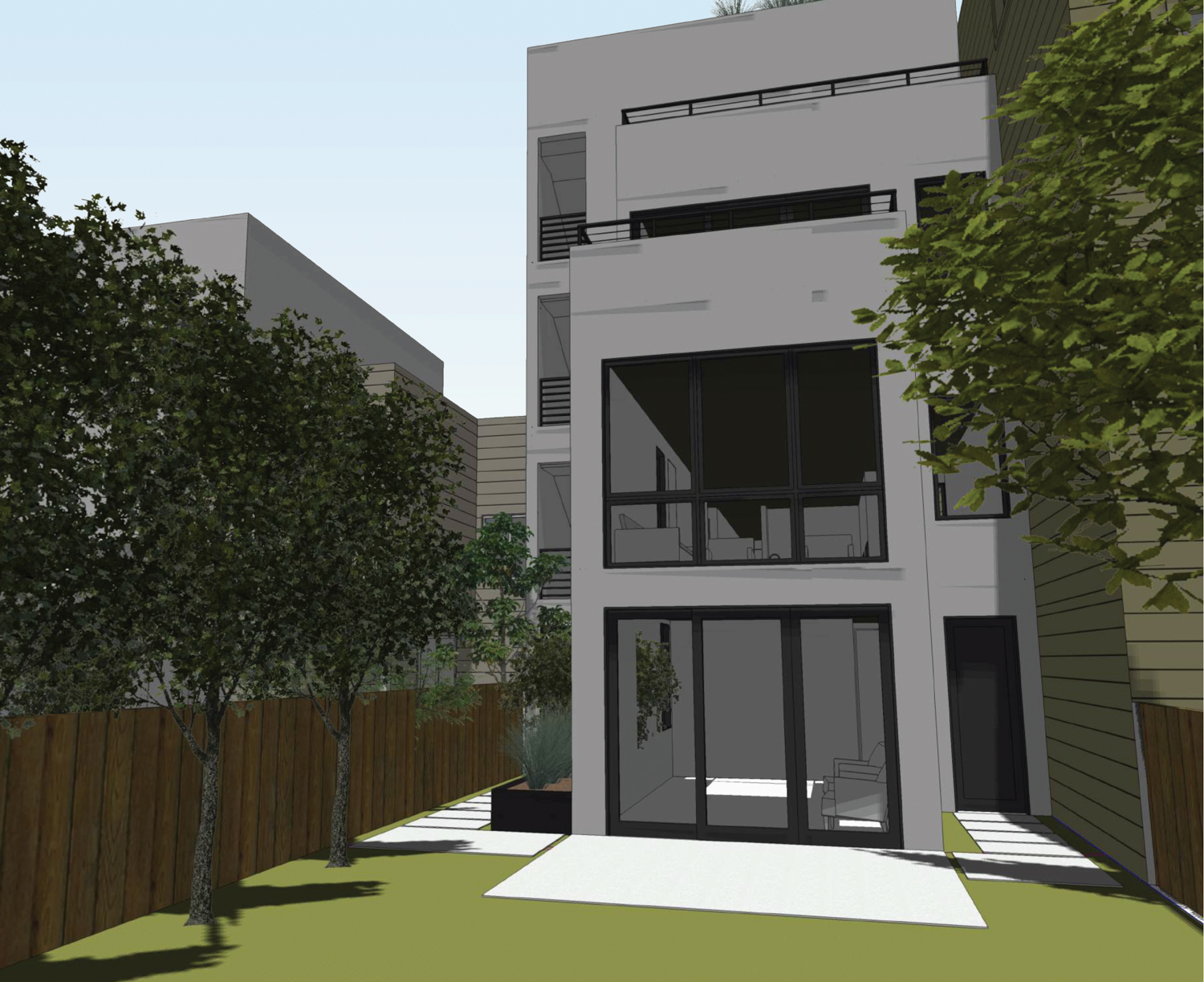 33-37 Capra Way viewed from the ground-level private backyard, rendering by John Lum Architecture