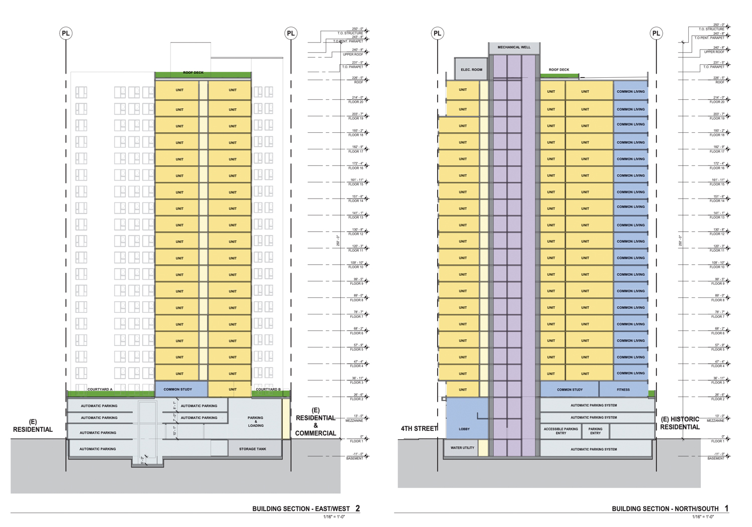 475 South 4th Street north-south and east-west building section elevations, drawing by BDE Architecture