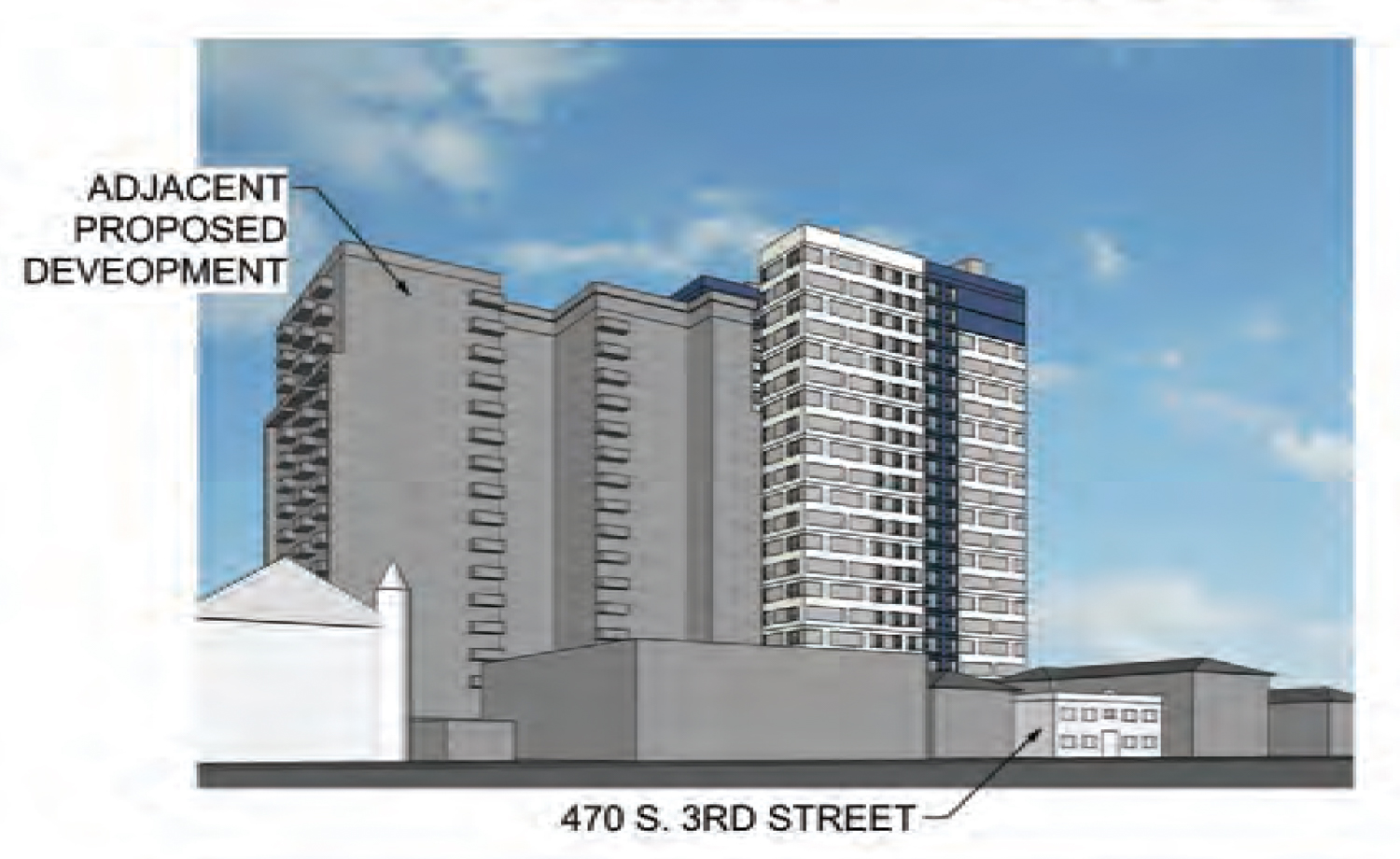 475 South 4th Street with adjacent proposed development massed, drawing courtesy BDE Architecture