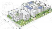 675 East Santa Clara Street birdseye view, drawing by David Baker Architects, Perkins Will Pfau Long