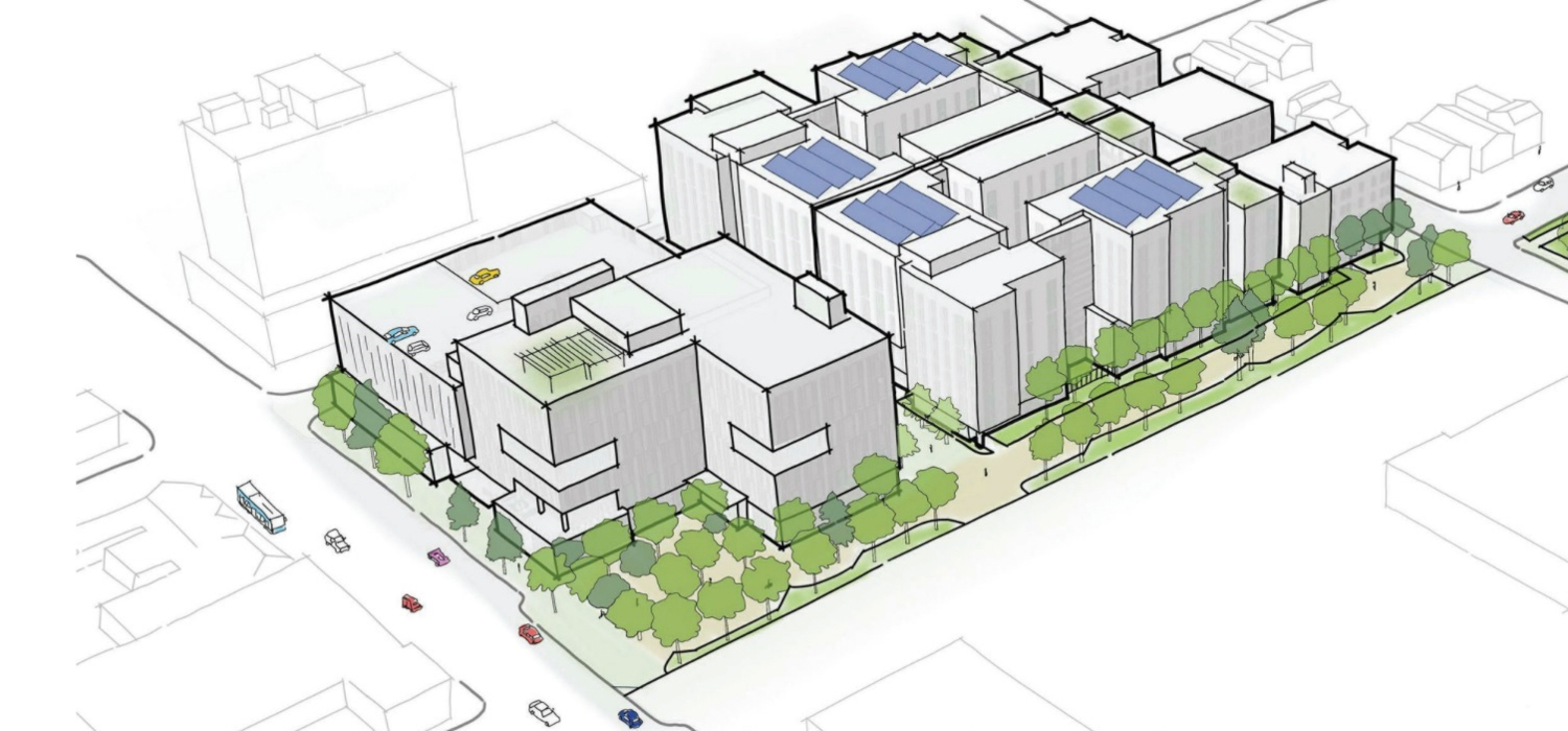 675 East Santa Clara Street birdseye view, drawing by David Baker Architects, Perkins Will Pfau Long