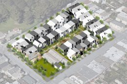 770 Woolsey Street site plan, rendering by Iwamotoscott Architecture