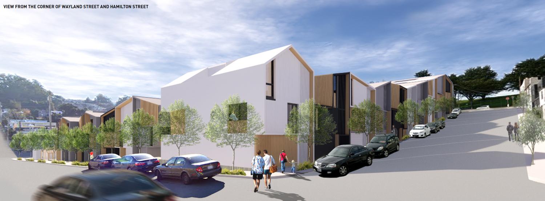 770 Woolsey Street street view, rendering by Iwamotoscott Architecture