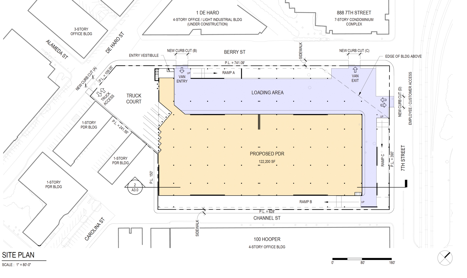 900 7th Street site plan for PDR logistics facility, drawing by MG2