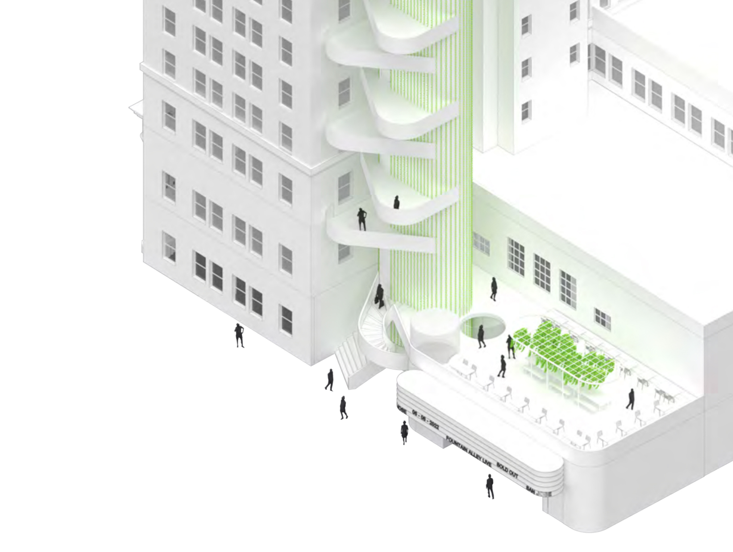 Bank of Italy adjoining fountain alley, rendering by Bjarke Ingels Group