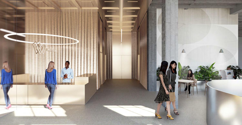 Bank of Italy office lobby, rendering by Bjarke Ingels Group