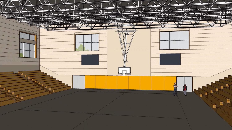 Bishop O'Dowd High gym interior, design by Studio Bondy Architecture