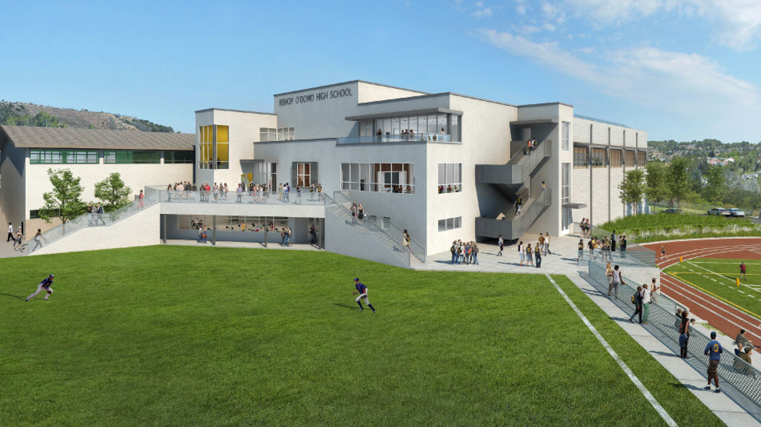 Bishop O'Dowd High School Center at 9500 Stearns Avenue, rendering by Studio Bondy Architecture