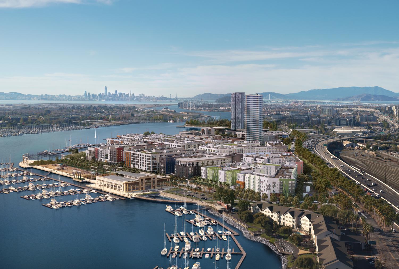 Brooklyn Basin with San Francisco in the background, rendering courtesy EK