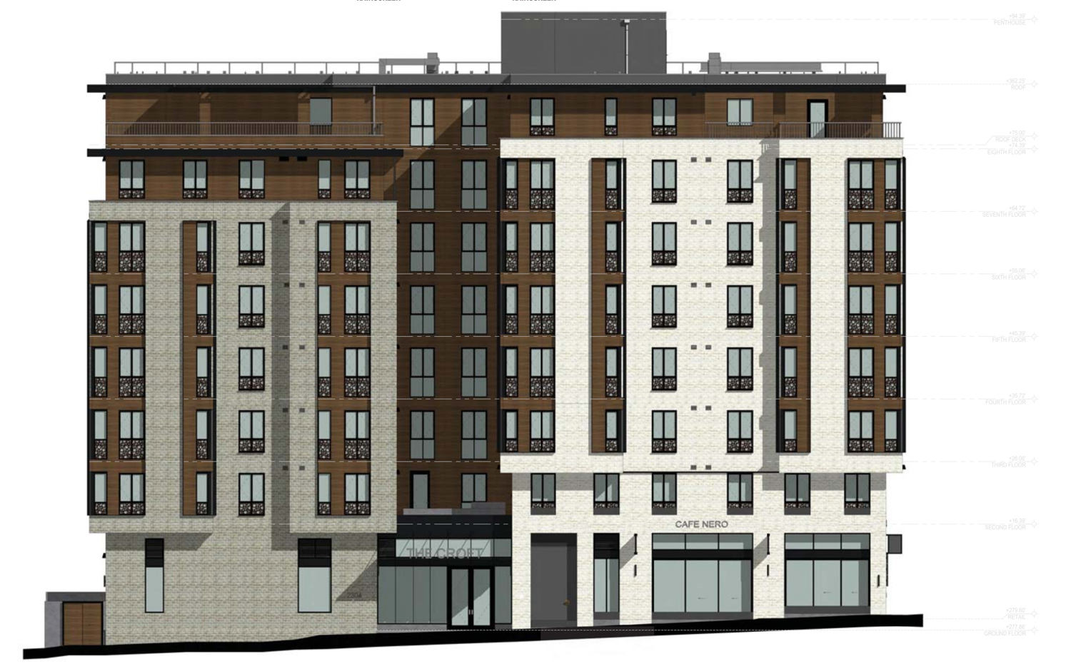 East elevation of 2590 Bancroft Way along Bowditch Street, rendering by Trachtenberg Architects