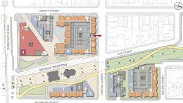 El Cerrito Plaza Station development plane option 1, drawing courtesy BART