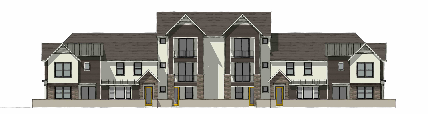 Modern Farmhouse elevation for Edgeview at the Cove, drawing by JDA