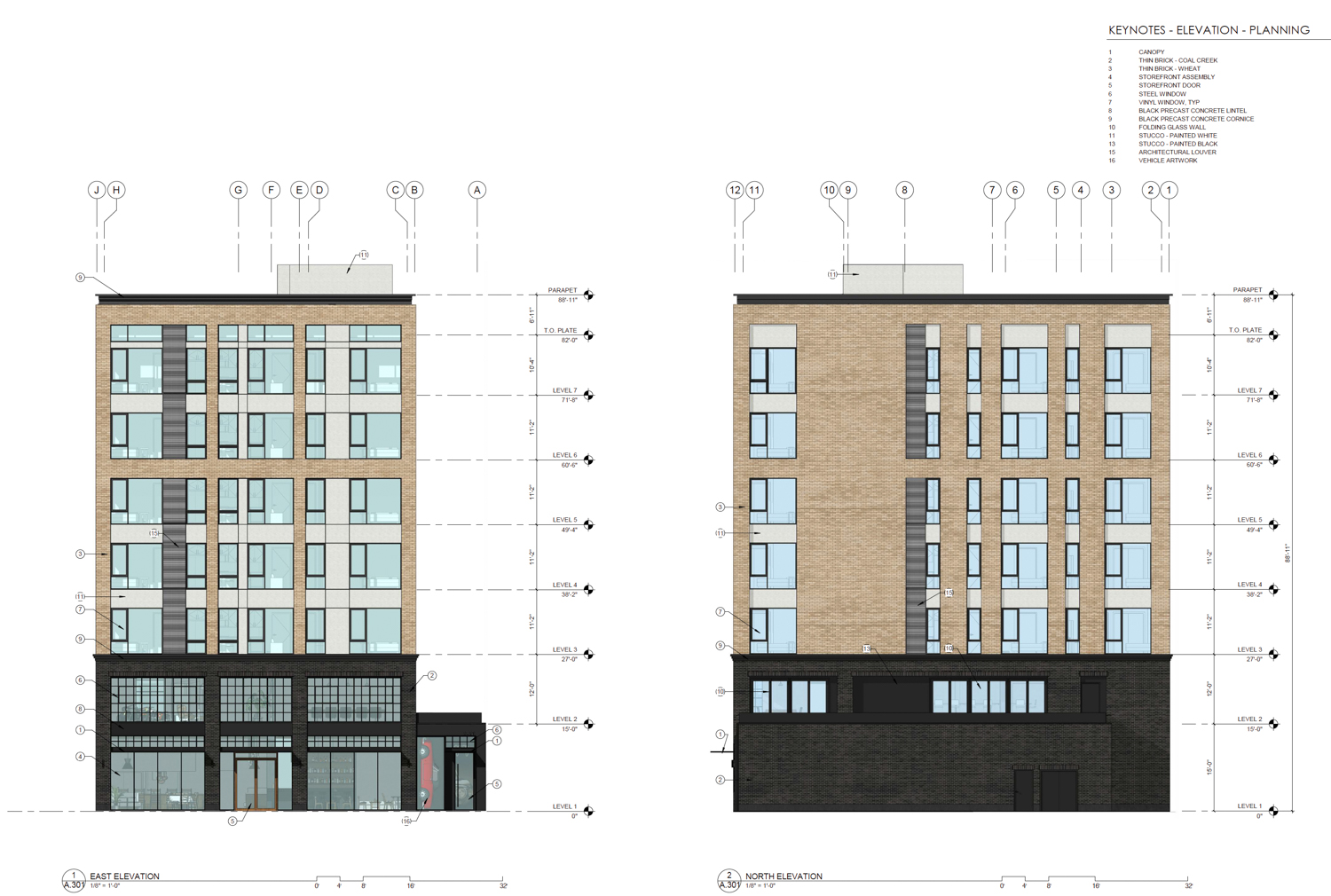 1116 18th Street east and north-side elevation, drawing by C2K Architecture