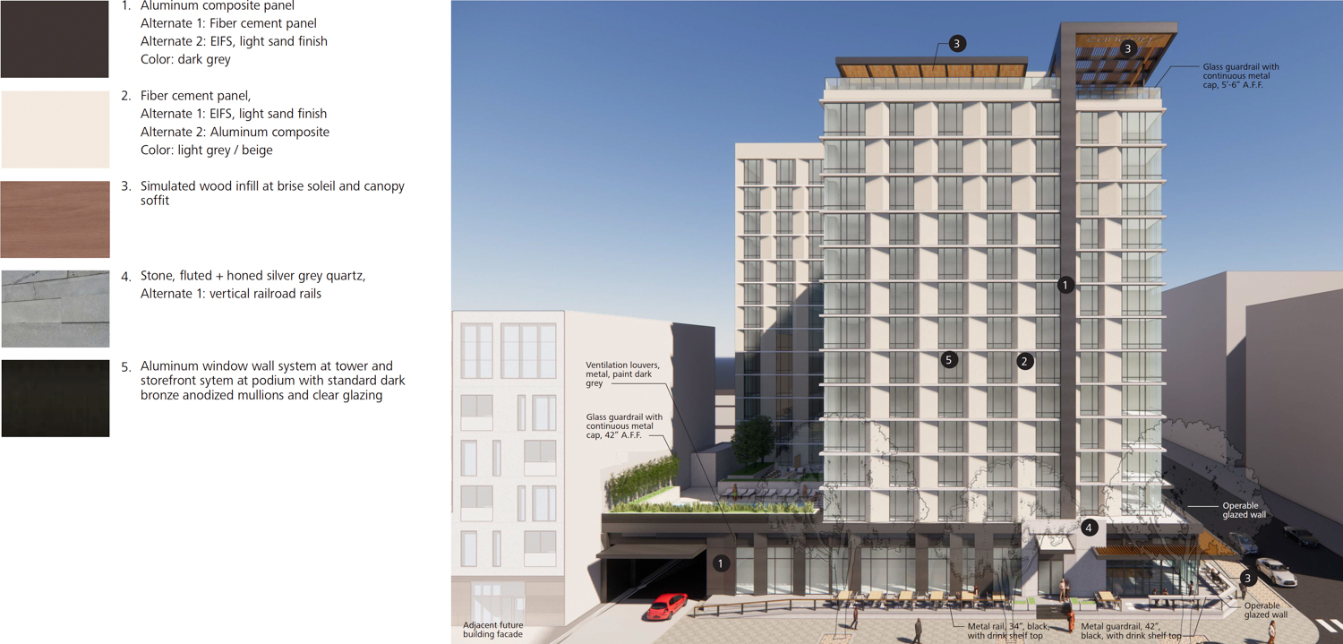 1116 9th Street facade elevation, drawing by WATG