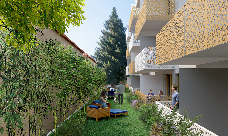 123 Sherman Avenue residential garden, rendering by KSH Architects