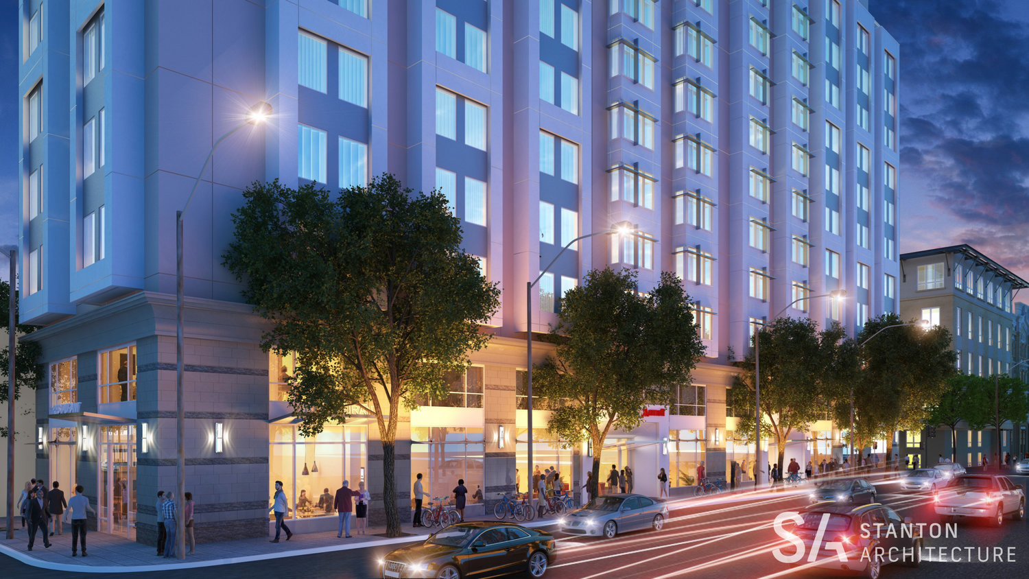 1431 Jefferson Street night view of street life, rendering from Stanton Architecture