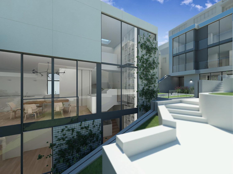 150-162 Grand View Avenue interior courtyard, design by Zack de Vito Architect